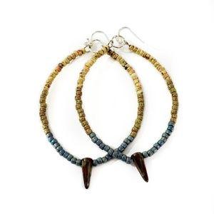 Artisan Earth Tone Beaded Ceramic Spike Earrings
